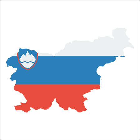 Slovenia high resolution map with national flag on a white background.