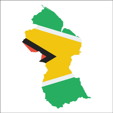 Guyana high resolution map with national flag. Flag of the country overlaid on detailed outline map isolated on white background.