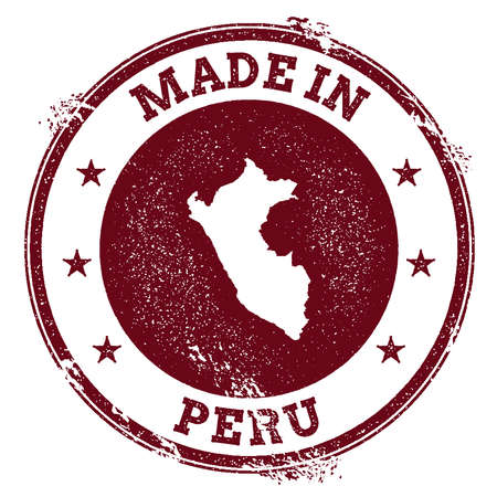 clutter: Grunge rubber stamp with Made in Peru text and map vector illustration.