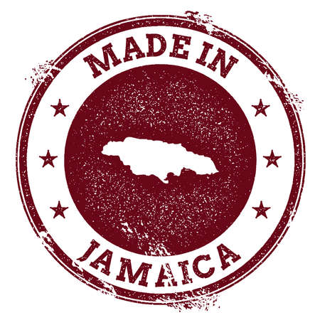 clutter: Jamaica vector seal. Vintage country map stamp. Grunge rubber stamp with Made in Jamaica text and map, vector illustration.