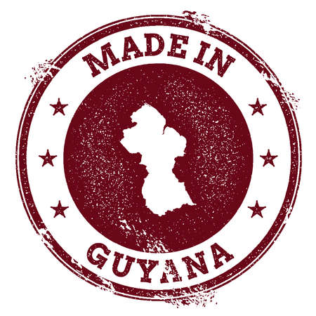 Grunge rubber stamp with Made in Guyana text and map vector illustration. Illustration