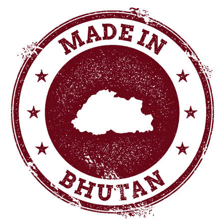 clutter: Bhutan vector seal. Vintage country map stamp. Grunge rubber stamp with Made in Bhutan text and map, vector illustration.