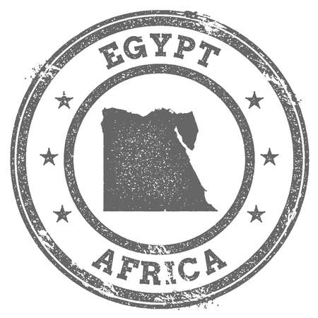 clutter: Egypt grunge rubber stamp map and text. Round textured country stamp with map outline. Vector illustration.