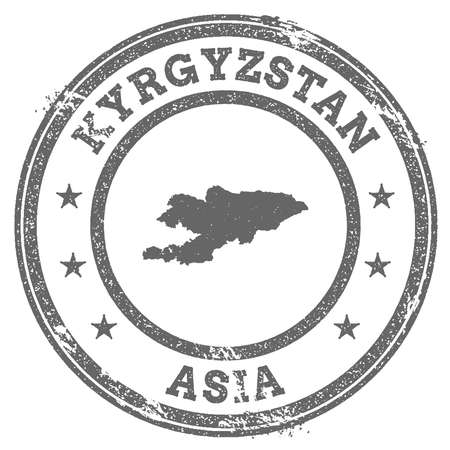 clutter: Kyrgyzstan grunge rubber stamp map and text. Round textured country stamp with map outline. Vector illustration.