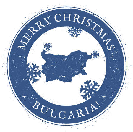 politic: Bulgaria map. Vintage Merry Christmas Bulgaria Stamp.