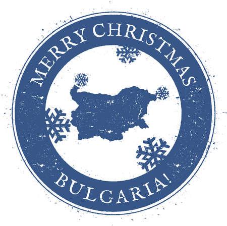 Bulgaria map. Vintage Merry Christmas Bulgaria Stamp.
