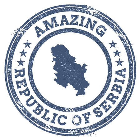 politic: Vintage Amazing Serbia travel stamp with map outline. Serbia travel grunge round sticker.