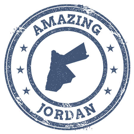 politic: Vintage Amazing Jordan travel stamp with map outline. Jordan travel grunge round sticker.