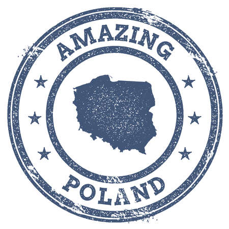 politic: Vintage Amazing Poland travel stamp with map outline. Poland travel grunge round sticker.