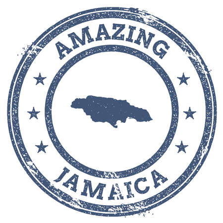 politic: Vintage Amazing Jamaica travel stamp with map outline. Jamaica travel grunge round sticker.