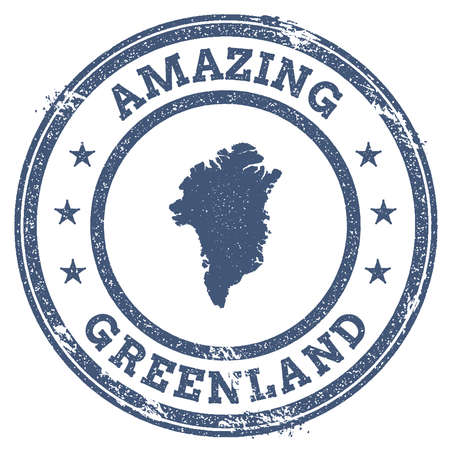 politic: Vintage Amazing Greenland travel stamp with map outline. Greenland travel grunge round sticker.
