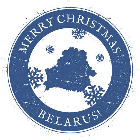 politic: Belarus map. Vintage Merry Christmas Belarus Stamp.
