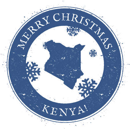 politic: Kenya map. Vintage Merry Christmas Kenya Stamp. Illustration