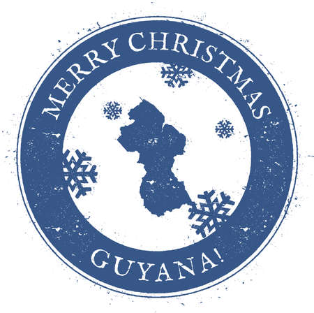 Guyana map. Stylized rubber stamp with county map and Merry Christmas text, vector illustration. Illustration