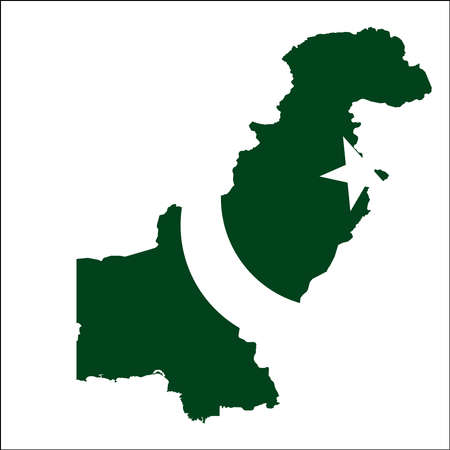 A Pakistan high resolution map with national flag. Illustration