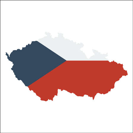 Czech Republic high resolution map with national flag. Illustration