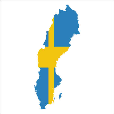 Sweden high resolution map with national flag.