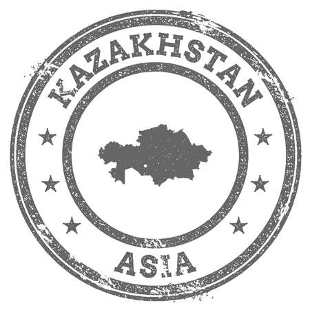 Kazakhstan grunge rubber stamp map and text. Round textured country stamp with map outline.