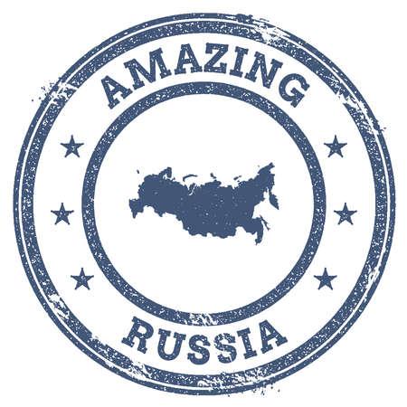 Vintage Amazing Russian Federation travel stamp with map outline. Russian Federation travel grunge round sticker.