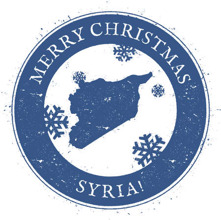 Syrian Arab Republic map. Vintage Merry Christmas Syrian Arab Republic Stamp. Stylised rubber stamp with county map and Merry Christmas text, vector illustration. Illustration