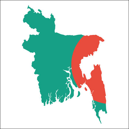 Bangladesh high resolution map with national flag. Flag of the country overlaid on detailed outline map isolated on white background.