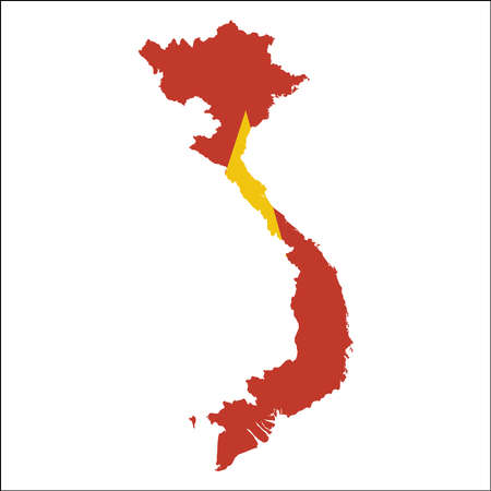 Vietnam high resolution map with national flag. Flag of the country overlaid on detailed outline map isolated on white background. Иллюстрация