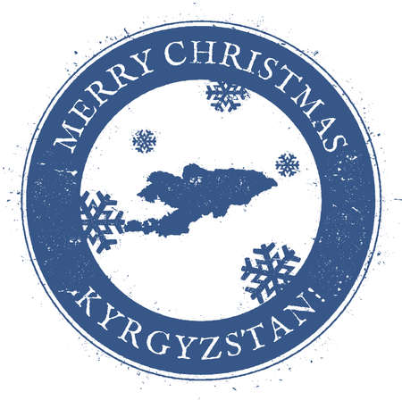 Kyrgyzstan map. Vintage Merry Christmas Kyrgyzstan Stamp. Stylised rubber stamp with county map and Merry Christmas text, vector illustration.