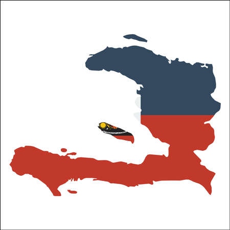 Haiti high resolution map with national flag. Flag of the country overlaid on detailed outline map isolated on white background. Illustration