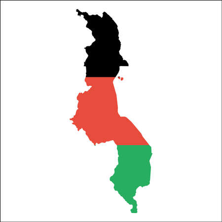 Malawi high resolution map with national flag. Flag of the country overlaid on detailed outline map isolated on white background. Illustration