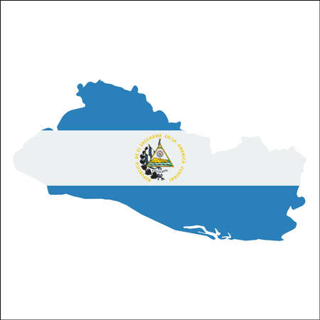 mapa de el salvador: El Salvador high resolution map with national flag. Flag of the country overlaid on detailed outline map isolated on white background. Vectores
