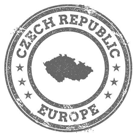 Czech Republic grunge rubber stamp map and text. Round textured country stamp with map outline. Vector illustration.