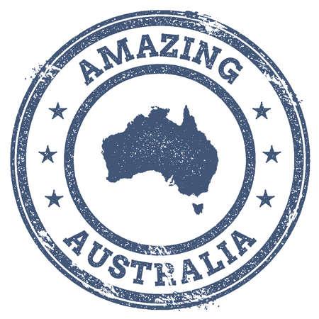Vintage Amazing Australia travel stamp with map outline. Australia travel grunge round sticker. Stok Fotoğraf - 87997194