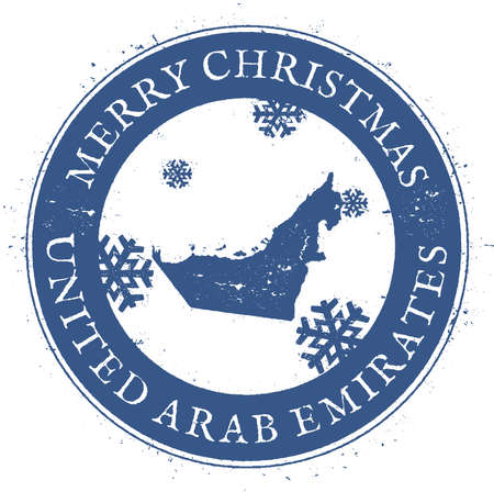 United Arab Emirates map. Vintage Merry Christmas United Arab Emirates Stamp. Stylised rubber stamp with county map and Merry Christmas text, vector illustration.