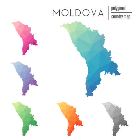 Set of vector polygonal Moldova, Republic of maps. Bright gradient map of country in low poly style. Multicolored Moldova, Republic of map in geometric style for your infographics. Illustration