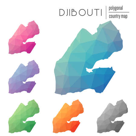 djibouti: Set of vector polygonal Djibouti maps. Bright gradient map of country in low poly style. Multicolored Djibouti map in geometric style for your infographics.