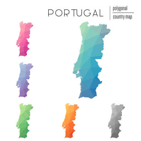 delta: Set of vector polygonal Portugal maps. Bright gradient map of country in low poly style. Multicolored Portugal map in geometric style for your infographics. Illustration