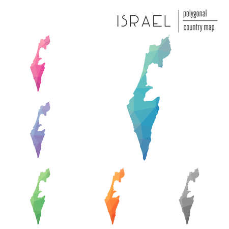 Set of vector polygonal Israel maps. Bright gradient map of country in low poly style. Multicolored Israel map in geometric style for your infographics.