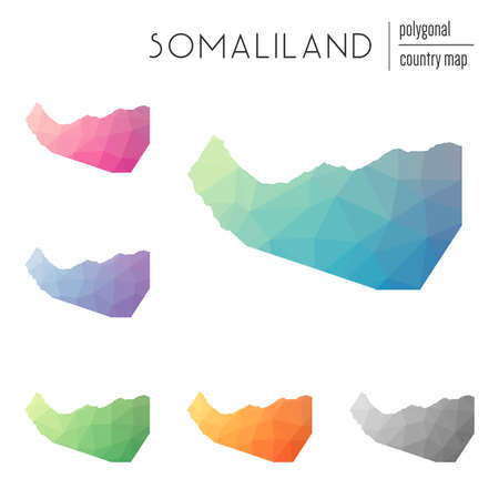 Set of vector polygonal Somaliland maps. Bright gradient map of country in low poly style. Multicolored Somaliland map in geometric style for your infographics.