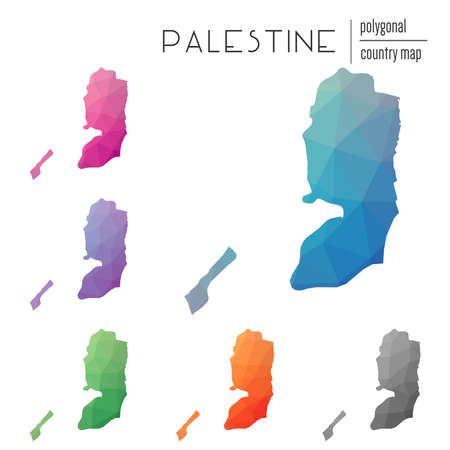 Set of vector polygonal Palestine maps. Bright gradient map of country in low poly style. Multicolored Palestine map in geometric style for your infographics. Illustration