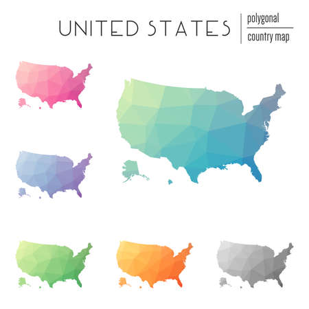 Set of vector polygonal United States maps. Bright gradient map of country in low poly style. Multicolored United States map in geometric style for your infographics.