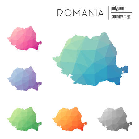 rom: Set of vector polygonal Romania maps. Bright gradient map of country in low poly style. Multicolored Romania map in geometric style for your infographics.
