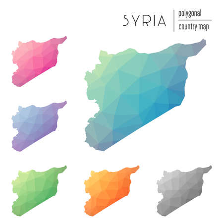 Set of vector polygonal Syrian Arab Republic maps. Bright gradient map of country in low poly style. Multicolored Syrian Arab Republic map in geometric style for your infographics.