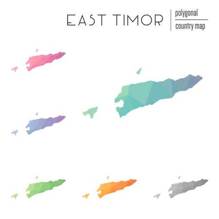 Set Of Vector Polygonal TimorLeste Maps Bright Gradient Map - East timor seetimor leste map vector