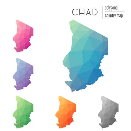 Set of vector polygonal Chad maps. Bright gradient map of country in low poly style. Multicolored Chad map in geometric style for your infographics. Illustration