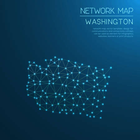 Washington network map. Abstract polygonal US state map design. Internet connections vector illustration.