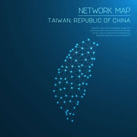 Taiwan, Republic Of China network map. Abstract polygonal map design. Internet connections vector illustration.