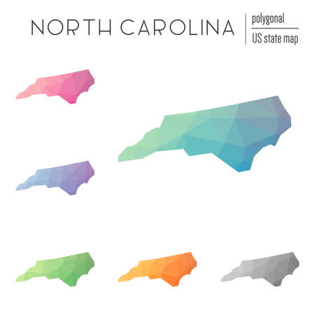 Set of vector polygonal North Carolina maps. Bright gradient map of the US state in low poly style. Multicolored North Carolina map in geometric style for your infographics.