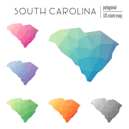 Set of vector polygonal South Carolina maps. Bright gradient map of the US state in low poly style. Multicolored South Carolina map in geometric style for your infographics. Illustration
