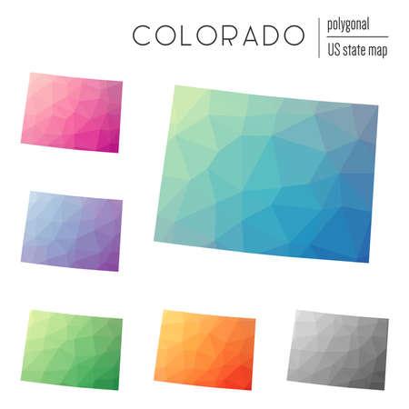 Conjunto de vectores de mapas poligonales de Colorado. Mapa de degradado brillante del estado de EE. UU. En estilo de baja poli. Mapa multicolor de Colorado en estilo geométrico para su infografía. Foto de archivo - 87913864