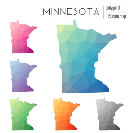 Set of vector polygonal Minnesota maps. Bright gradient map of the US state in low poly style. Multicolored Minnesota map in geometric style for your infographics. Illustration